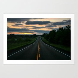 Just standin' in the middle of a country road and watchin' the sun set... Art Print