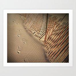 Footprints on the Beach by the Sand Fence Art Print