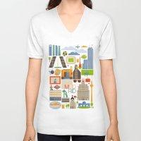 madrid V-neck T-shirts featuring Madrid  by La Merienda