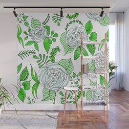 Sky + Lime // Floral Print Wall Mural