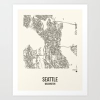 Seattle Washington City Map Art Print