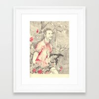 riff raff Framed Art Prints featuring RiFF RAFF with ReD ROSeS by withapencilinhand