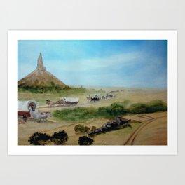 Passing Chimney Rock on the Dusty Oregon Trail Art Print