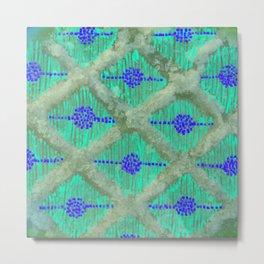 mint green rhomb pattern Metal Print