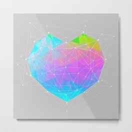 The Dots Will Somehow Connect (Geometric Heart) Metal Print