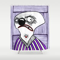 be happy Shower Curtains featuring HAPPY by Vanja Cankovic