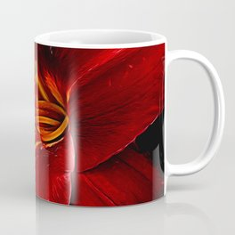 Red Lily On Black Coffee Mug