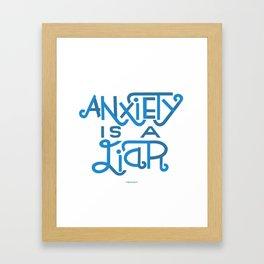 Anxiety is A Liar (light blue) Framed Art Print
