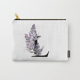Letter 'L' Lilac Flower Monogram Typography Carry-All Pouch