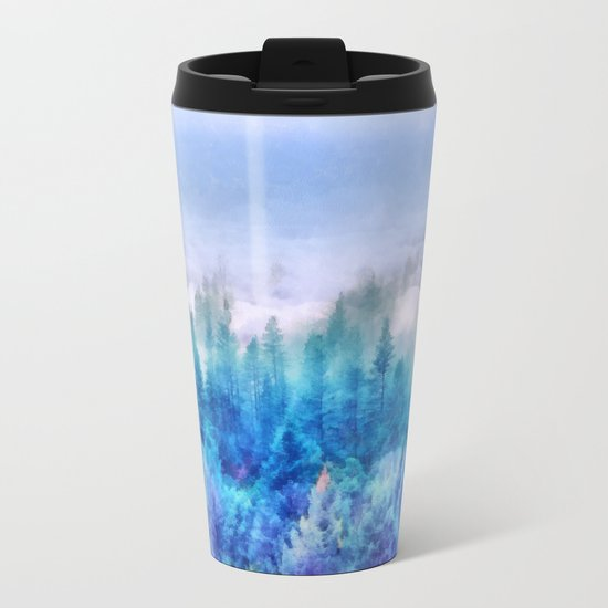 Clouds over pine forest Metal Travel Mug