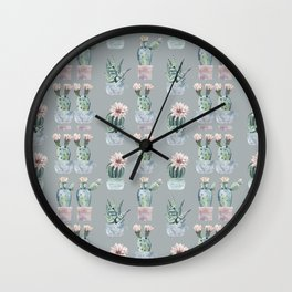 Potted Cactus Plants Gray Wall Clock