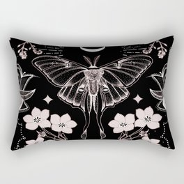 Bohemian Luna Moth On Black Rectangular Pillow