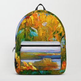 Sunflowers by the river Backpack