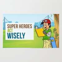 super heroes Area & Throw Rugs featuring Super Heroes Act Wisely by youngmindz