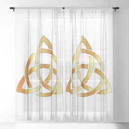 Golden triquetra celtic cross-3 point Celtic Trinity knot Sheer Curtain