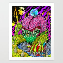 Bulb Brain Critic Destroyer Art Print