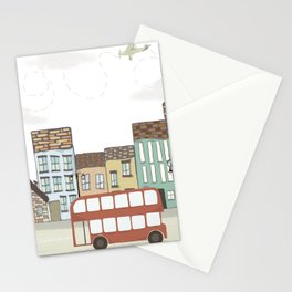Quirky London Bus Street Scene Stationery Cards