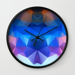 Abstract geometric polygonal pattern inih and pink tones . Wall Clock