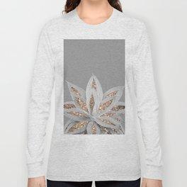 Gray Agave with Gold Glitter #1 #shiny #tropical #decor #art #society6 Long Sleeve T-shirt