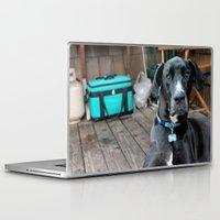 great dane Laptop & iPad Skins featuring A Great Dane by Rachel Leah