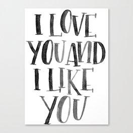 I Love You and I Like You Canvas Print