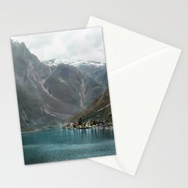 Village by the Lake & Mountains Stationery Cards
