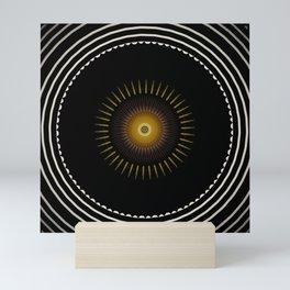 Modern Circular Abstract with Gold Mandala Mini Art Print