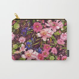 Pink Garden Roses in Watercolor Carry-All Pouch