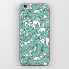 origami animal ditsy mint iPhone Skin