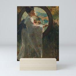 Pieter de Josselin de Jong - Japanese Girl with a Wagasa - Dutch Victorian Retro Vintage Oil Paintin Mini Art Print