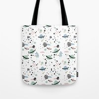 planets Tote Bags featuring PLANETS by Ana Depuntillas
