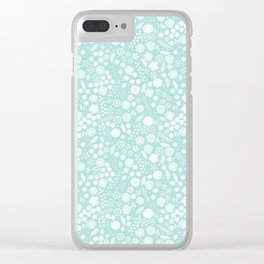 Vintage bohemian pastel green white flowers illustration Clear iPhone Case