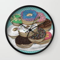 donuts Wall Clocks featuring Donuts by Sil-la Lopez