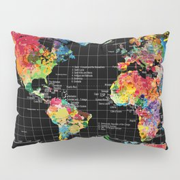 World Map Black - 1 Pillow Sham