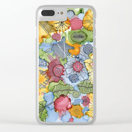 Flower doodle Clear iPhone Case