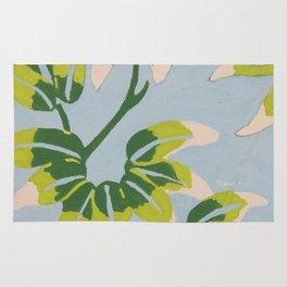 Japanese Leaves On Light Blue Background Rug