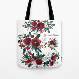 Red burgundy Christmas season floral bouquets love and peace script Tote Bag