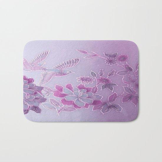 Vintage Birds And Flowers – Lavender and Purple Bath Mat