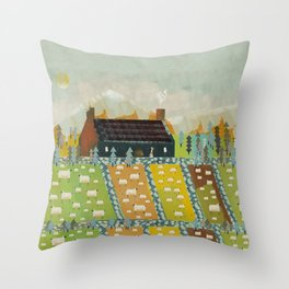 wooly fields Throw Pillow