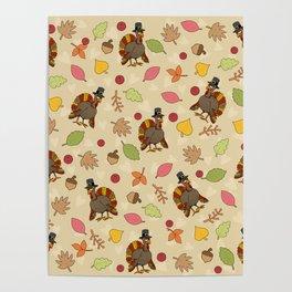 Thanksgiving Turkey pattern Poster