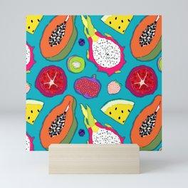 Seedy Fruits in Teal Blue Mini Art Print