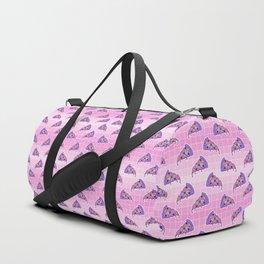 Crazy pizza / Pink Grid Duffle Bag