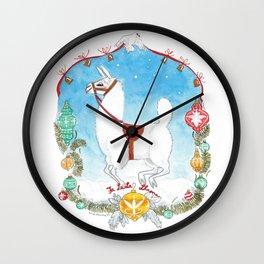 Deck the Halls with Llamas Wall Clock