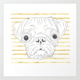 Cute hand drawn pug dog and golden stripes pattern Art Print