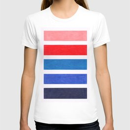 Colorful Red and Blue Geometric Pattern T-shirt