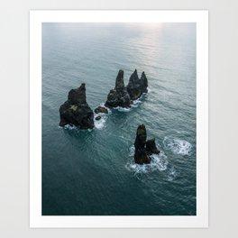 Sea stacks on the Icelandic Coast near Vik - Landscape Photography Art Print