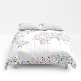 Music Notes Map of the World Comforters