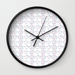 flower and face-flower,bloom,blossom,nature,funny,plants,nature,visage,face Wall Clock