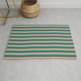 Dark Salmon & Teal Colored Lined Pattern Rug