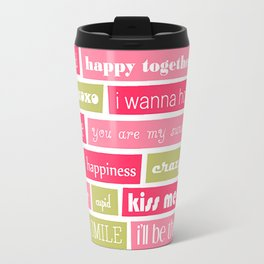Pink and Green Typography Love Letters Print Travel Mug